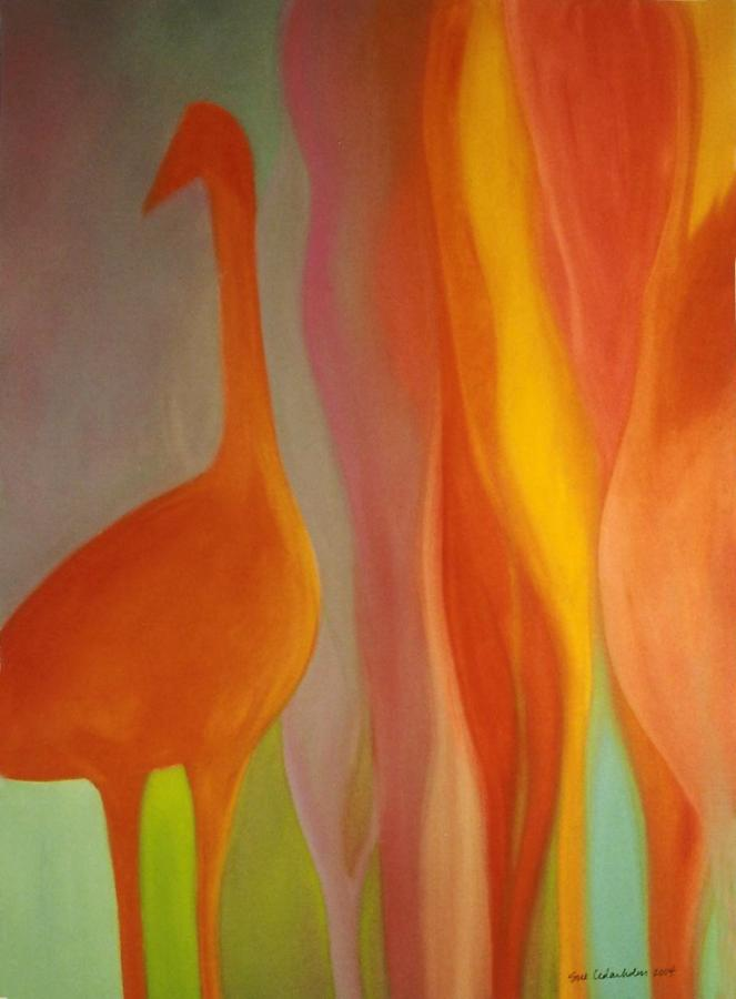 Orange Glow Crane by Susan E Cedarholm