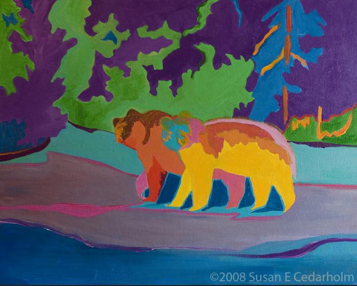 Two Cubs by Susan E Cedarholm